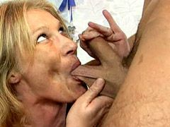 Granny whore having her pussy pumped hard and cum