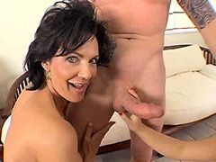 Brunette matures playing with big cock till hot groupsex