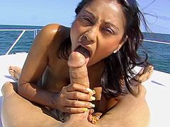 Busty brunette mature chick fucked by big cock on yacht