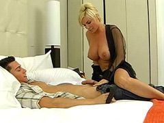 Busty blonde milf tempts hot young..