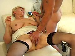 Blond granny gets pussy massage till hard long sex