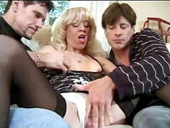 Blonde mature and two guys with big cocks