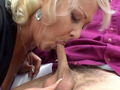 Blonde granny babe gets deep doggystyle insertion