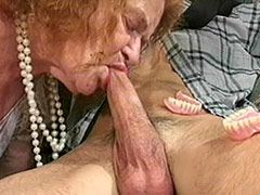 Granny removes plate and sucks while hard fucked