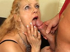 Granny babe in black nylon stockings doggystyle fuck