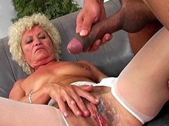 Blonde granny gets cock in hairy beaver and jizz
