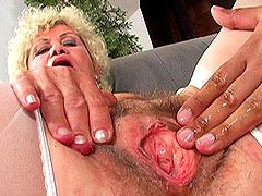 Granny spreads hairy cunt for hard strong cock