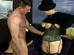 Blonde granny in hat banged by strong hot cock