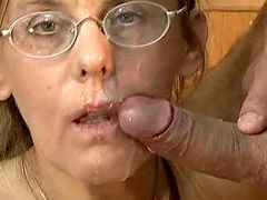 Granny in glasses gets cock in hairy anal hole