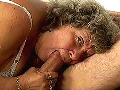 Big boobs granny bitch serving hard dick on bed