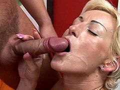 14 inch big dick screwing blonde mature on bed