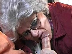Granny in glasses tempting young 10 inch cock