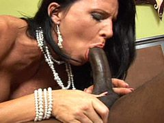 Hungry granny gets 24 inch black dick and cum