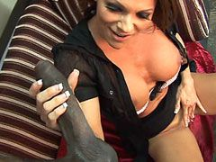Busty mature whore jerk giant black cock and fuck