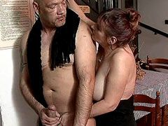 Hairy mature chick sucking and fucked for money