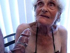 Suggy tits granny babe takes hard cock..
