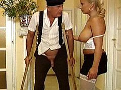 Mature chick in white stockings fuck older cock