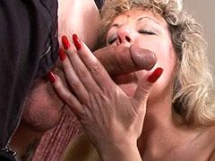 Mature lady gets face fuck and hard bang for cum