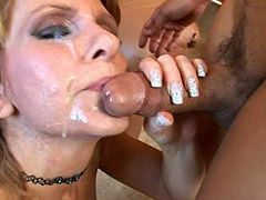 Mature bitch get sperm on face after bigcock sex