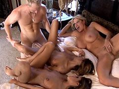 Three milf babes gets wild ganbang on sofa