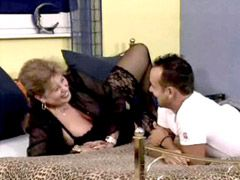 Old chubby mom in stockings sucking fucking and cumshot