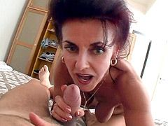 Mature whore with hot body sucking cock and fucking hard