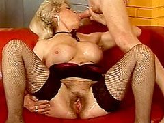 Hairy granny babe in stockings rides hot dick
