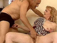 Hairy beaver granny whore takes 12 inch cock