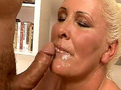 Blonde mature bitch gets fucked on bed and facialed