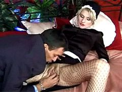 Mature in stocking gets facial cumshot..