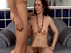 Hairy brunette mature deep anal fucked for cum
