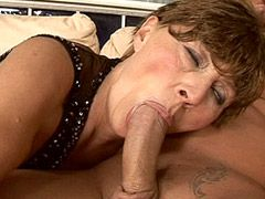 Granny babe jerks and wild fucks strong cock