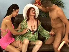 Hairy granny chicks loves to feel cock in group sex