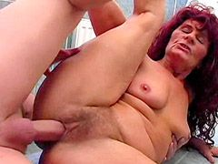 Hairy granny whore hard fuck on cool tile in bath