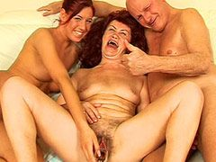 Hairy granny babe with saggy tits group sex fucked