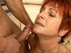 Red head granny in black stockings wild fucked