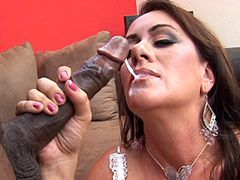Gigantic african cock screwing wet mature pussy