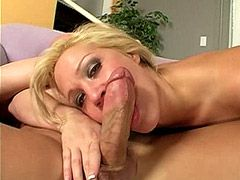 Blonde milf babe takes massive white cock for cum