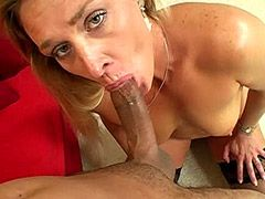 Blond mature gets face fuck and hard big cock sex