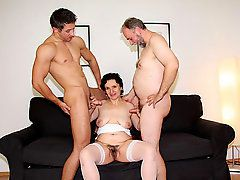 The mature wife gets a threesome for her birthday and the..