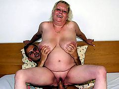 Old fat slut goes home with the young man so he can nail..