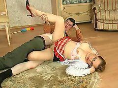 Mature French maid working her tongue around the rim..